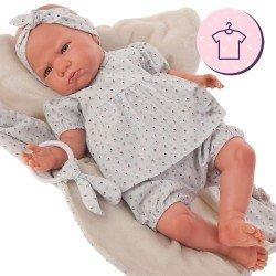 Completo bambola Antonio Juan 52 cm - Collezione Mi Primer Reborn - Completo floreale blu con fascia e massaggiagengive