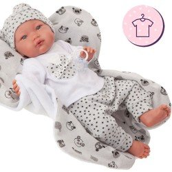 Completo bambola Antonio Juan 52 cm - Collezione Mi Primer Reborn - Pigiama panda grigio con cappello