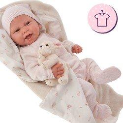 Completo bambola Antonio Juan 40 - 42 cm - Collezione Sweet Reborn - Completo pagliaccetto a righe rosa con cappello