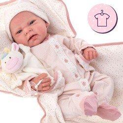 Completo bambola Antonio Juan 40 - 42 cm - Collezione Sweet Reborn - Completo pagliaccetto a righe e stelle con coperta e cappello