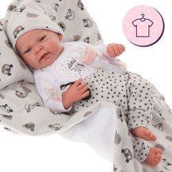 Completo bambola Antonio Juan 40 - 42 cm - Collezione Sweet Reborn - Completo panda grigio con cappello