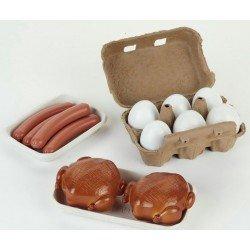 Klein 9680 - Set uova, salsicce e galline giocattolo