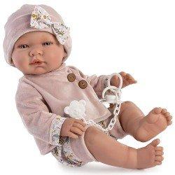 Bambola Así 43 cm - María con abito in velluto rosa antico
