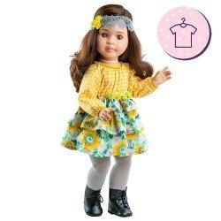 Completo bambola Paola Reina cm 60 - Las Reinas - Abito Lidia floreale e a quadri