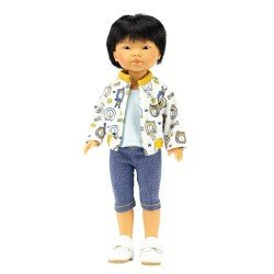 Bambola Vestida de Azul 28 cm - Los Amigos de Carlota - Kenzo con jeans pirata e bomber stampato
