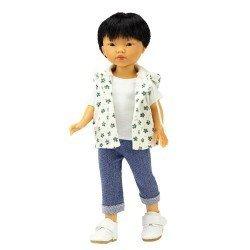 Bambola Vestida de Azul 28 cm - Los Amigos de Carlota - Kenzo con jeans e gilet con stampa verde